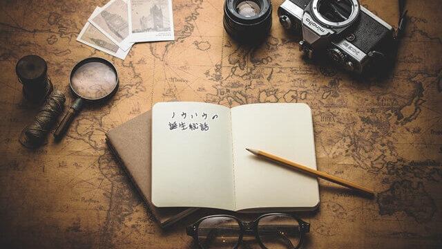冒険地図とコンパスの画像