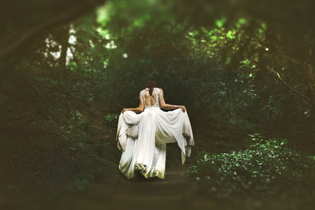 森の奥へと進む女性の画像