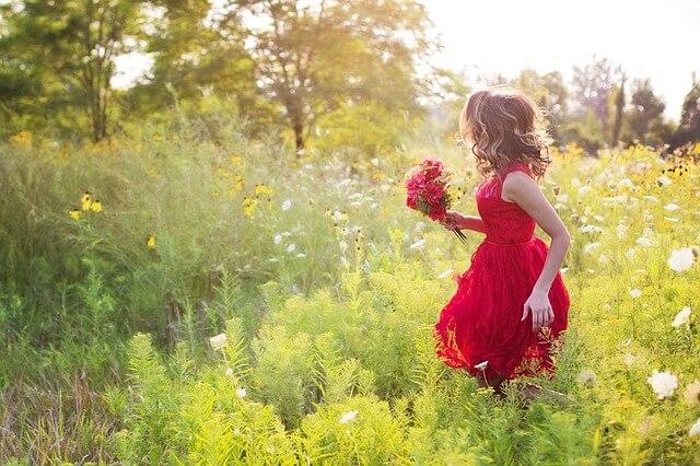 赤いドレスの少女の画像