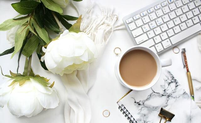 白い花とカフェ