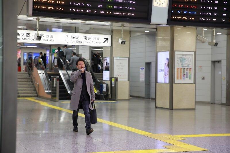 新幹線で名古屋駅に到着